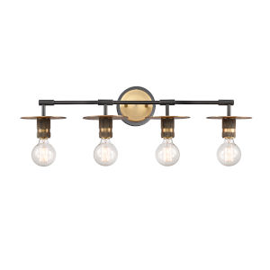 Aurora Black Brushed Brass Four-Light Bath Vanity