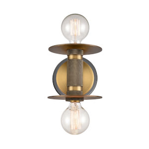Aurora Black Brushed Brass Two-Light LED Wall Sconce