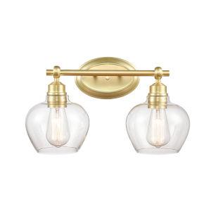 Amina Satin Brass Two-Light LED Bath Vanity