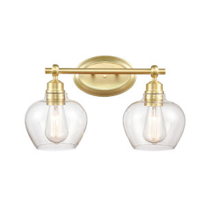 Amina Satin Brass Two-Light Bath Vanity