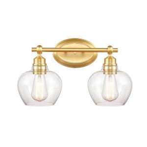 Amina Satin Gold Two-Light LED Bath Vanity