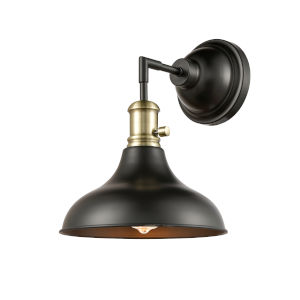 Metro Matte Black Antique Brass One-Light Wall Sconce