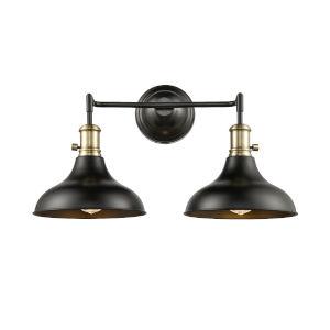 Metro Matte Black Antique Brass Two-Light Bath Vanity