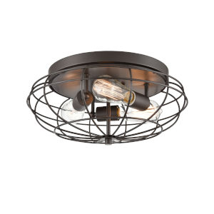 Austere Oil Rubbed Bronze Three-Light Flush Mount