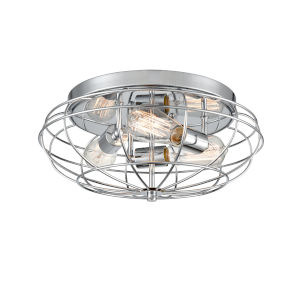 Austere Polished Chrome Three-Light Flush Mount