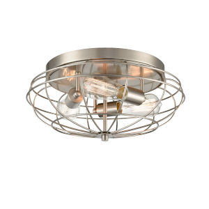 Austere Brushed Satin Nickel Three-Light LED Flush Mount