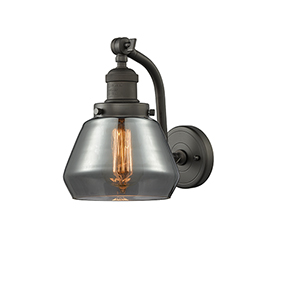 Fulton Oiled Rubbed Bronze 12-Inch LED Wall Sconce with Smoked Sphere Glass
