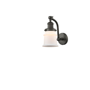 Franklin Restoration Oil Rubbed Bronze 12-Inch LED Wall Sconce with Matte White Small Canton Shade