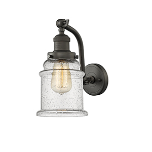 Canton Oiled Rubbed Bronze 12-Inch One-Light Wall Sconce with Seedy Bell Glass
