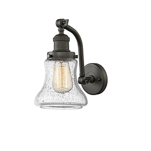 Bellmont Oiled Rubbed Bronze 12-Inch LED Wall Sconce with Seedy Hourglass Glass