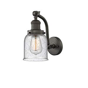 Small Bell Oiled Rubbed Bronze 12-Inch One-Light Wall Sconce with Seedy Bell Glass