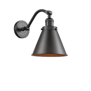 Franklin Restoration Oil Rubbed Bronze Eight-Inch One-Light Wall Sconce with Appalachian Oil Rubbed Bronze Metal Shade