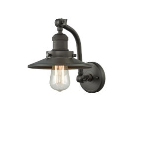 Franklin Restoration Oil Rubbed Bronze Five-Inch One-Light Wall Sconce with Railroad Oil Rubbed Bronze Metal Shade