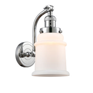 Canton Polished Chrome One-Light Adjustable Wall Sconce with Matte White Glass