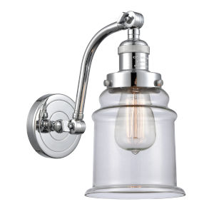 Canton Polished Chrome One-Light Adjustable Wall Sconce with Clear Glass