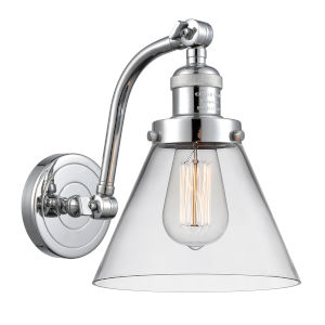 Franklin Restoration Polished Chrome Eight-Inch One-Light Wall Sconce with Clear Large Cone Shade