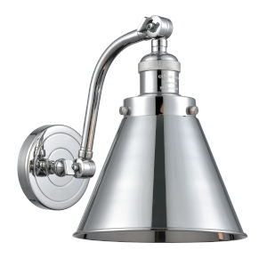 Franklin Restoration Polished Chrome Eight-Inch One-Light Wall Sconce with Appalachian Polished Chrome Metal Shade