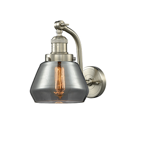 Fulton Brushed Satin Nickel 12-Inch One-Light Wall Sconce with Smoked Sphere Glass