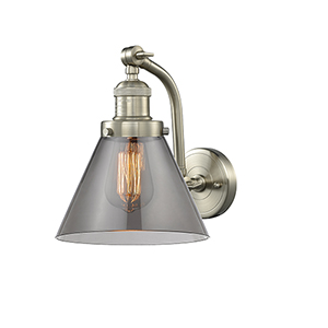 Large Cone Brushed Satin Nickel 12-Inch LED Wall Sconce with Smoked Cone Glass