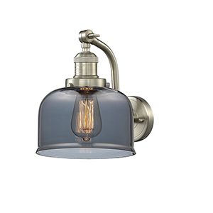 Large Bell Brushed Satin Nickel LED Wall Sconce with Smoked Dome Glass