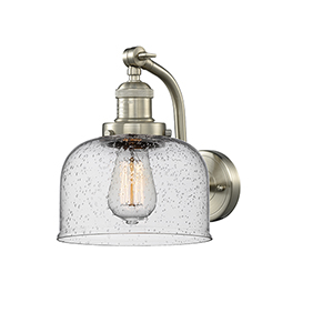 Large Bell Brushed Satin Nickel LED Wall Sconce with Seedy Dome Glass