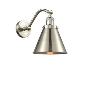 Franklin Restoration Brushed Satin Nickel Eight-Inch One-Light Wall Sconce with Appalachian Brushed Satin Nickel Metal Shade
