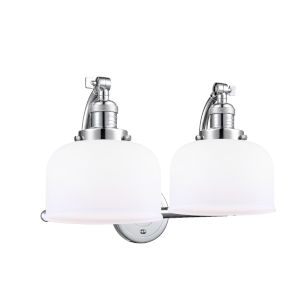 Large Bell Polished Chrome Two-Light Bath Vanity with Matte White Cased Glass