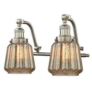 Chatham Brushed Satin Nickel 18-Inch Two-Light LED Bath Vanity with Mercury Fluted Novelty Glass
