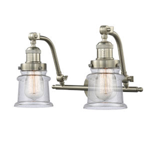 Franklin Restoration Brushed Satin Nickel 18-Inch Two-Light LED Bath Vanity with Seedy Glass Shade