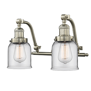 Small Bell Brushed Satin Nickel 18-Inch Two-Light Bath Vanity with Clear Bell Glass