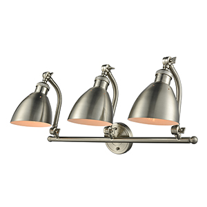 Salem Brushed Satin Nickel Three-Light Bath Vanity