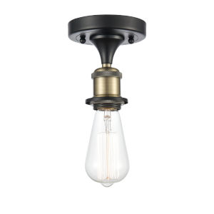 Ballston Black Antique Brass One-Light Semi-Flush Mount