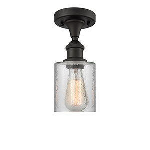 Cobbleskill Oiled Rubbed Bronze LED Semi Flush Mount with Clear Ripple Drum Glass
