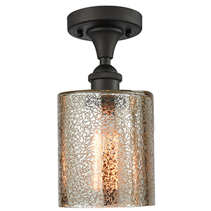 Cobbleskill Oiled Rubbed Bronze LED Semi Flush Mount with Mercury Drum Glass