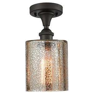 Cobbleskill Oiled Rubbed Bronze One-Light Semi Flush Mount with Mercury Drum Glass