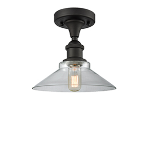 Disc Oiled Rubbed Bronze LED Semi Flush Mount with Clear Cone Glass