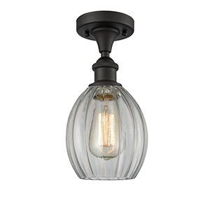 Eaton Oiled Rubbed Bronze One-Light Semi Flush Mount with Clear Fluted Sphere Glass