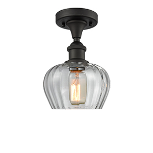 Fenton Oiled Rubbed Bronze One-Light Semi Flush Mount with Clear Fluted Sphere Glass