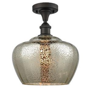 Large Fenton Oil Rubbed Bronze LED Semi Flush Mount with Mercury Glass