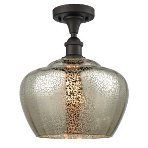 Large Fenton Oil Rubbed Bronze One-Light Semi Flush Mount with Mercury Glass