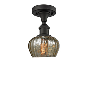 Fenton Oiled Rubbed Bronze One-Light Semi Flush Mount with Mercury Fluted Sphere Glass
