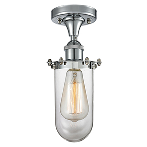 Kingsbury Polished Chrome One-Light Semi Flush Mount with Clear Globe Glass
