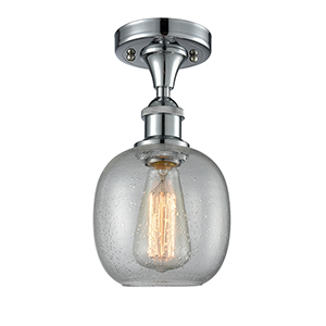 Belfast Polished Chrome LED Semi Flush Mount with Clear Seedy Sphere Glass