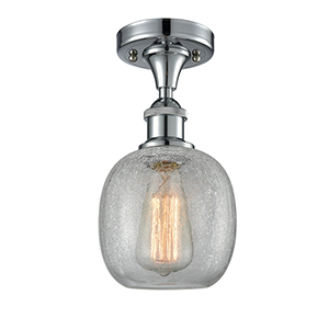 Belfast Polished Chrome One-Light Semi Flush Mount with Clear Crackle Sphere Glass