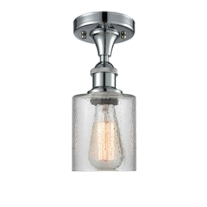 Cobbleskill Polished Chrome One-Light Semi Flush Mount with Clear Ripple Drum Glass