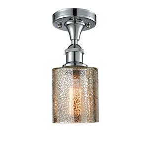 Cobbleskill Polished Chrome One-Light Semi Flush Mount with Mercury Drum Glass