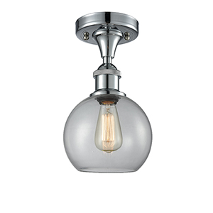 Athens Polished Chrome One-Light Semi Flush Mount with Clear Globe Sphere Glass