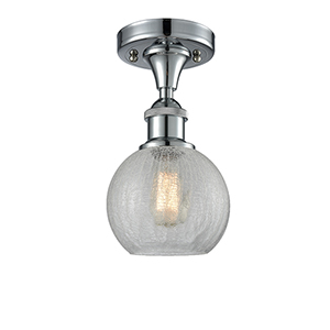 Athens Polished Chrome One-Light Semi Flush Mount with Clear Crackle Globe Sphere Glass