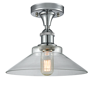 Disc Polished Chrome LED Semi Flush Mount with Clear Cone Glass