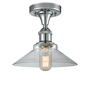 Disc Polished Chrome One-Light Semi Flush Mount with Clear Cone Glass